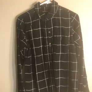 Women's button up black with white lines shirt